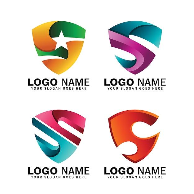 Letra inicial s escudo coleção de design de logotipo, logotipo para negócios e empresa símbolo ou identidades Vetor Premium