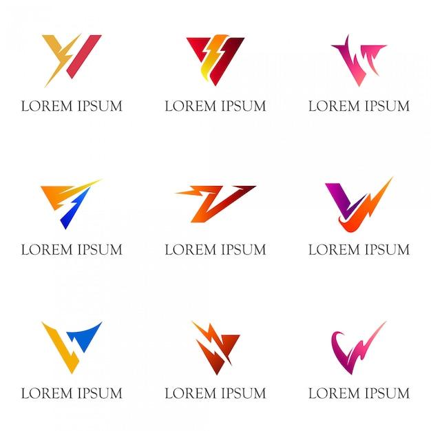 Letra inicial v com coleção de logotipo do trovão Vetor Premium