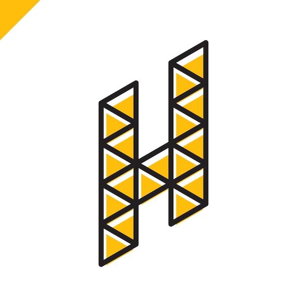 Letra isométrica h logo Vetor Premium