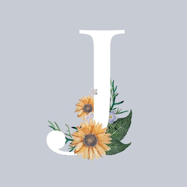 Letra j com flores Vetor grátis