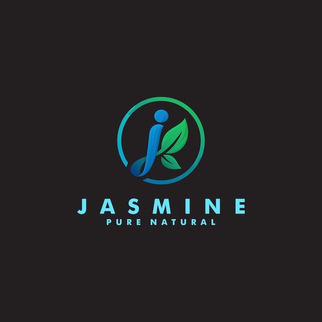 Letra j logotipo orgânico modelo design ilustração Vetor Premium