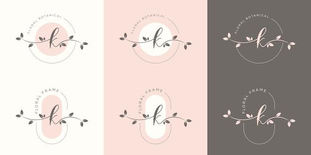 Letra k feminina com modelo de logotipo floral Vetor Premium