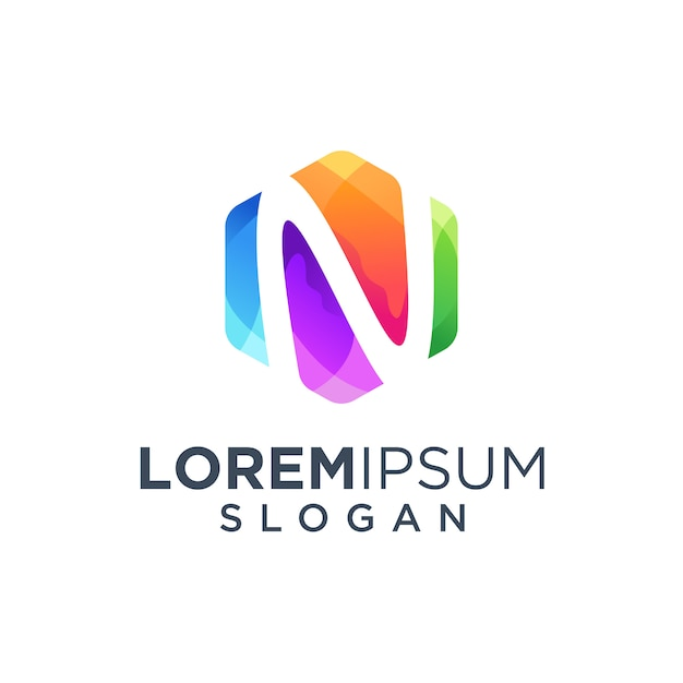 Letra n logo design ilustração vetorial Vetor Premium