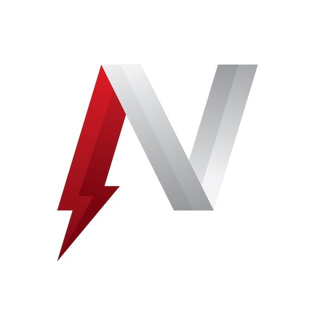 Letra n logo power vermelho e prata Vetor Premium