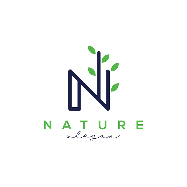 Letra n para modelo de design de logotipo de natureza Vetor Premium
