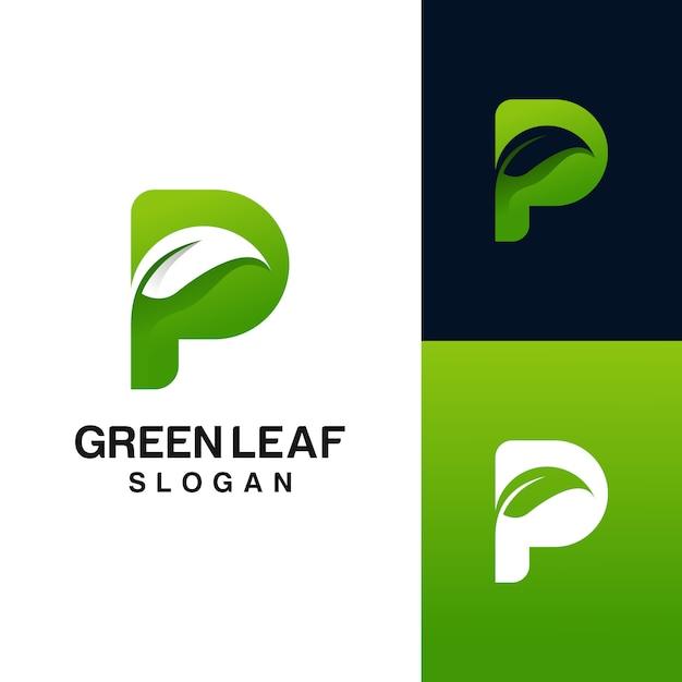 Letra p com o logotipo da folha Vetor Premium