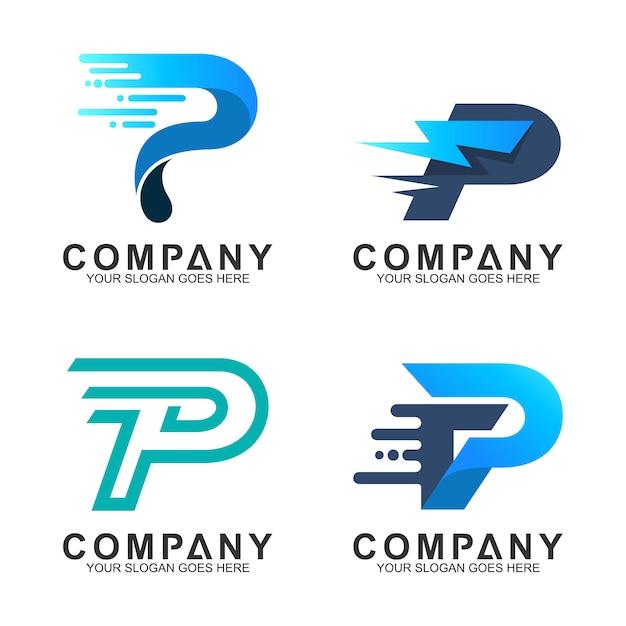 Letra p logo set Vetor Premium