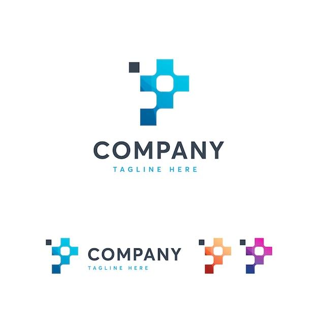 Letra p para o modelo de logotipo de pixel Vetor Premium