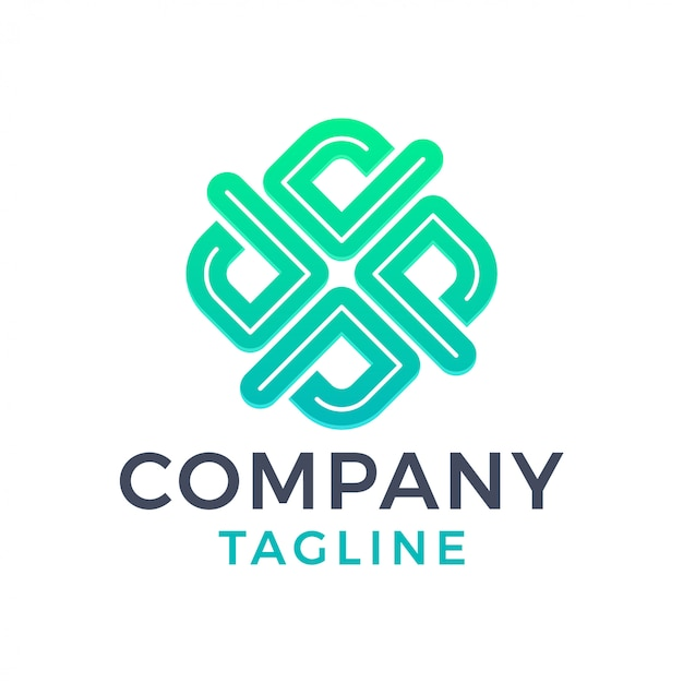 Letra quadrada moderna abstrata x logotipo gradiente verde inline Vetor Premium