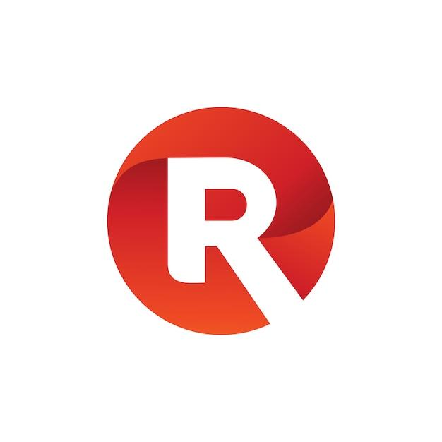 Letra r círculo logo vector Vetor Premium