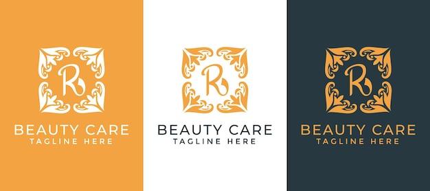 Letra r com modelo de design de logotipo ornamental de mandala para o setor de negócios de beleza e cuidados Vetor Premium