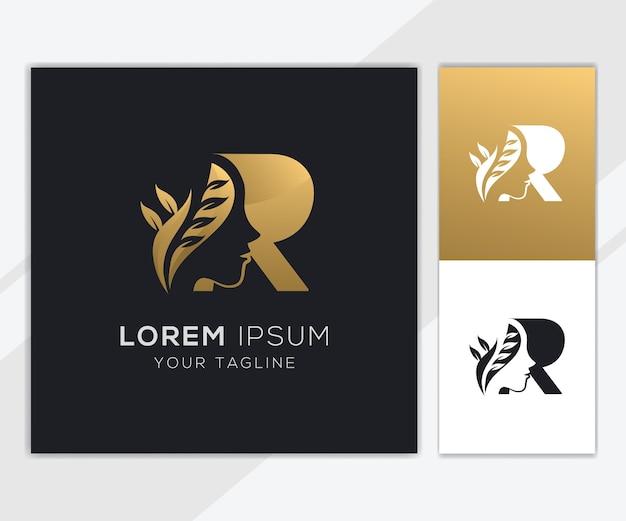 Letra r com modelo de logotipo de beleza feminina natural de luxo Vetor Premium