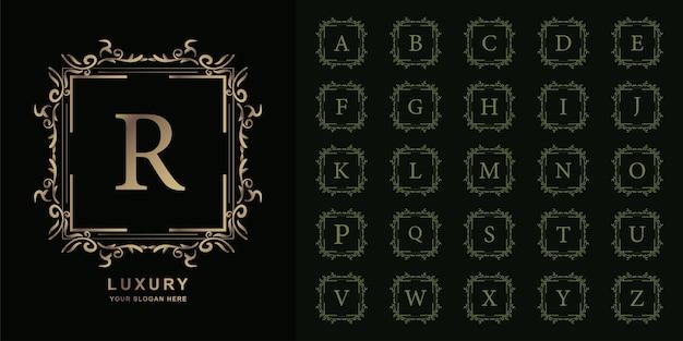 Letra r ou alfabeto inicial de coleção com modelo de logotipo dourado moldura floral ornamento de luxo. Vetor Premium