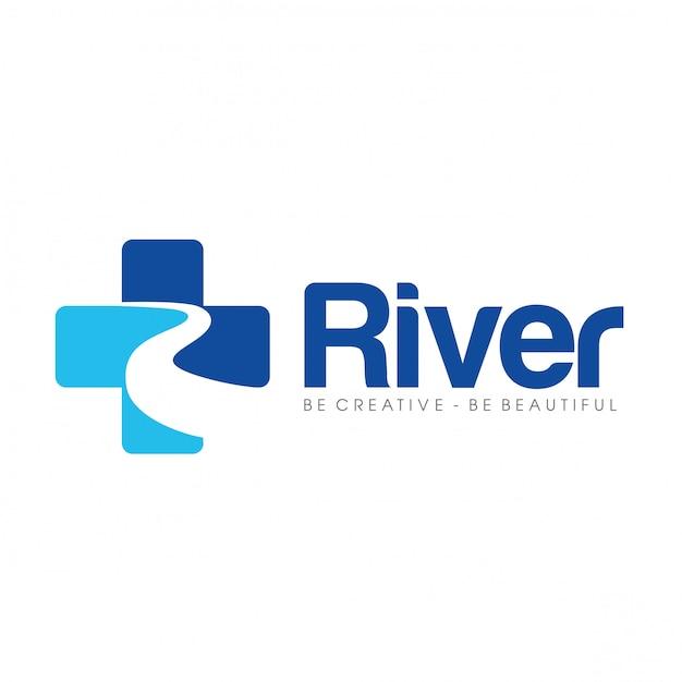 Letra r para cuidados com a saúde do rio e médico logo Vetor Premium