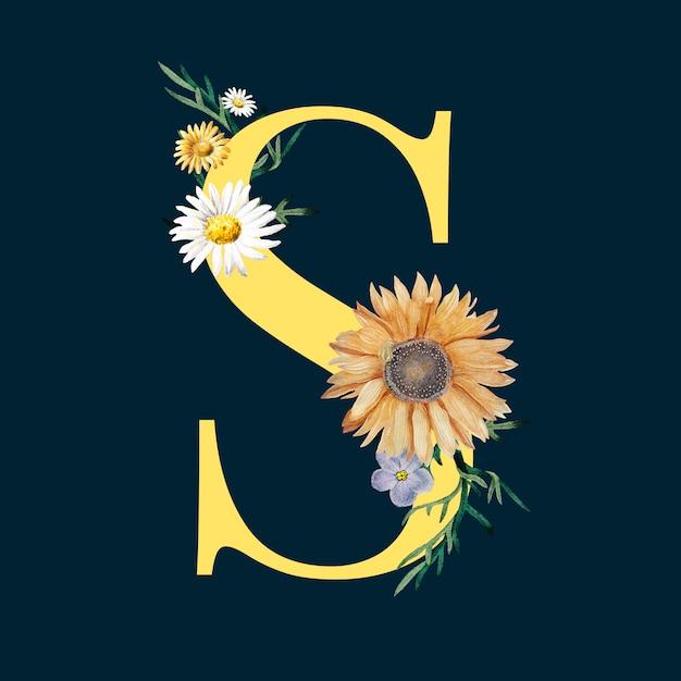 Letra s com flores Vetor grátis
