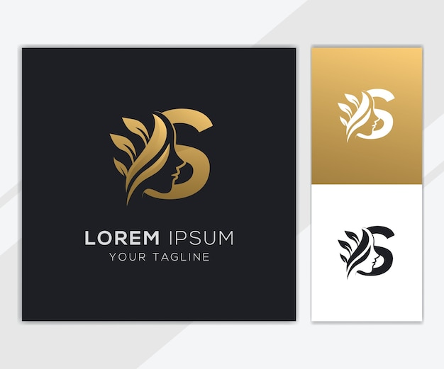 Letra s com modelo de logotipo de beleza feminina natural de luxo Vetor Premium