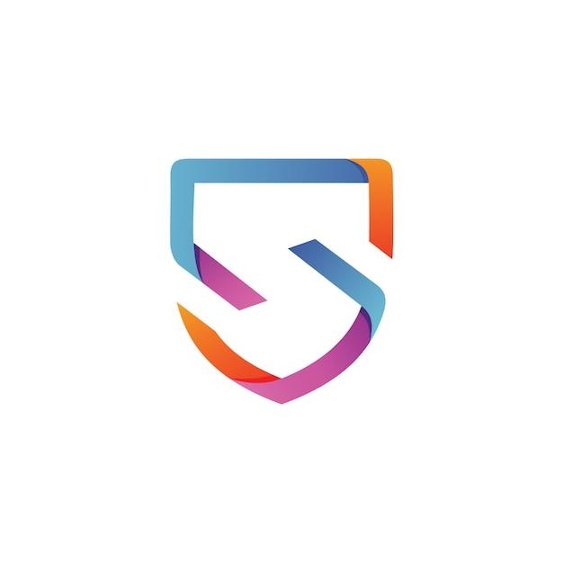 Letra s escudo logo vector Vetor Premium