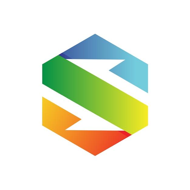 Letra s hexagon logo vector Vetor Premium