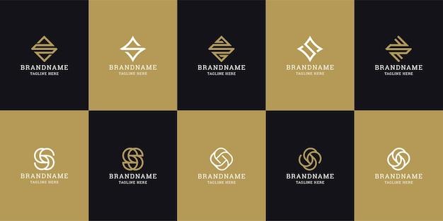 Letra s modelo de design do ícone de logotipo inicial. elegante, moderno, luxuoso. Vetor Premium