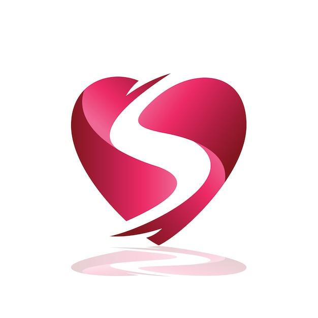 Letra s no logotipo do coração Vetor Premium