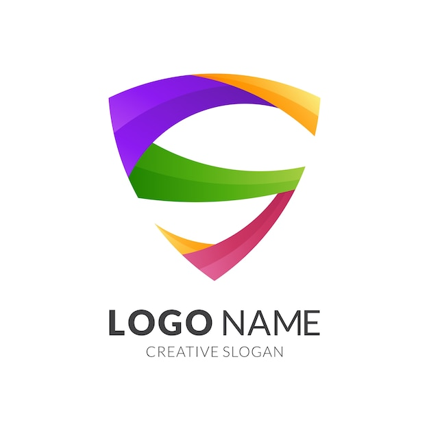 Letra se conceito de logotipo de escudo, estilo de logotipo moderno em cores gradientes vibrantes Vetor Premium