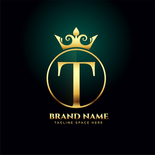 Letra t e crescido modelo de conceito de logotipo dourado Vetor grátis