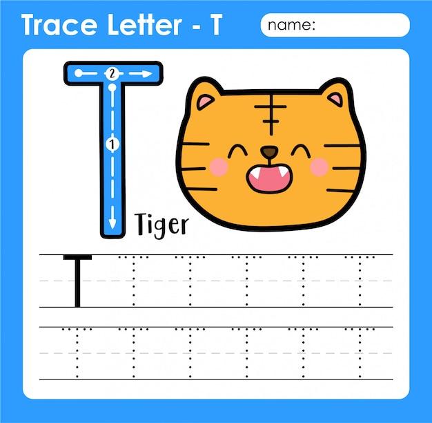 Letra t maiúscula - planilha de rastreamento de letras do alfabeto com tigrão Vetor Premium