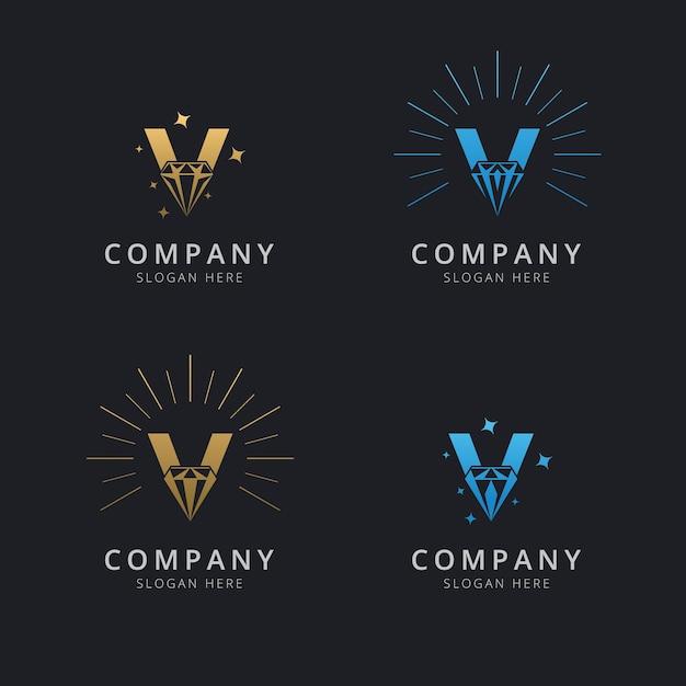 Letra v com modelo de logotipo de diamante abstrato de luxo Vetor Premium
