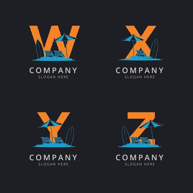 Letra wxy e z com modelo de logotipo de praia abstrato Vetor Premium