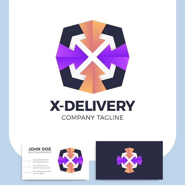 Letra x com logotipo de serviço de transporte de correio de seta Vetor Premium