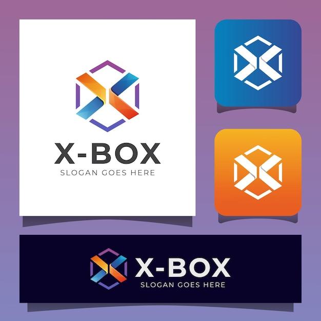 Letra x criativa vibrante combinada com logotipo hexagonal da caixa Vetor Premium
