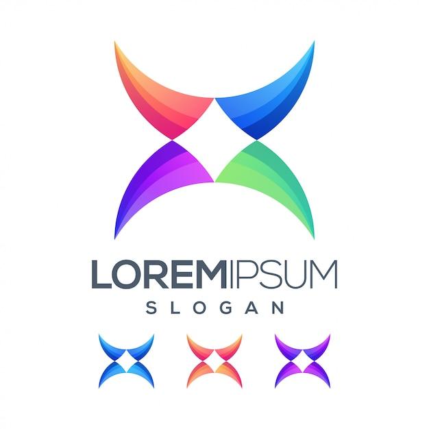 Letra x inspiração cor gradiente logotipo Vetor Premium