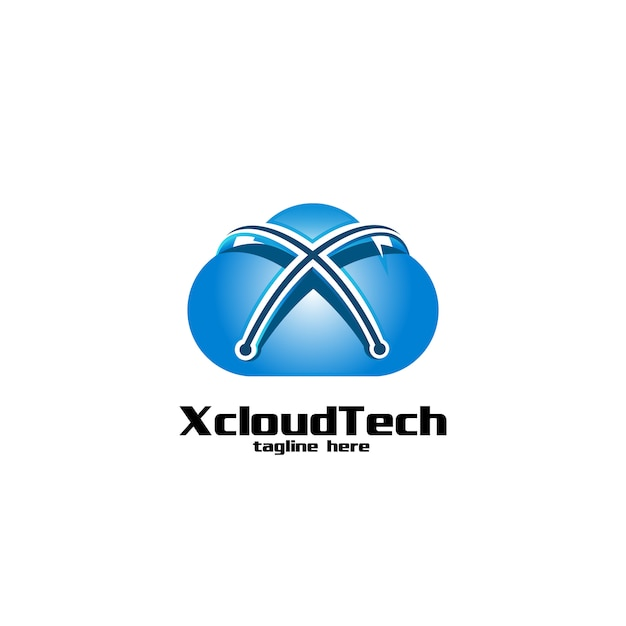 Letra x nuvem e tecnologia logo Vetor Premium