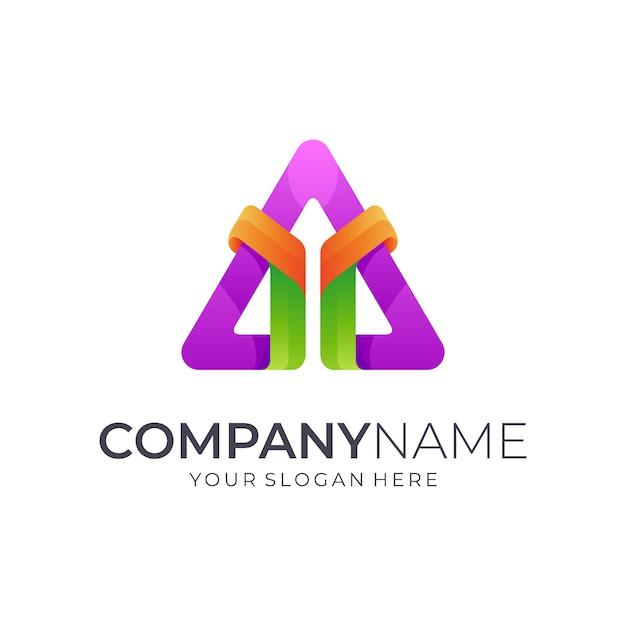 Letra y + logotipo do triângulo Vetor Premium