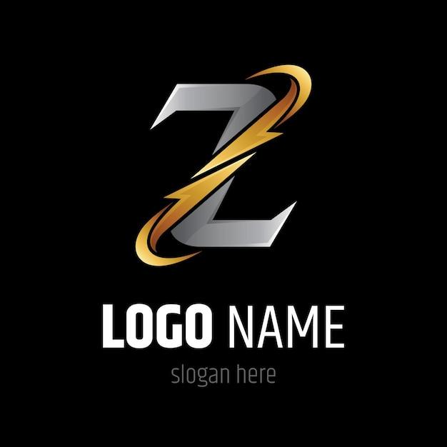 Letra z com modelo de logotipo do thunder Vetor Premium