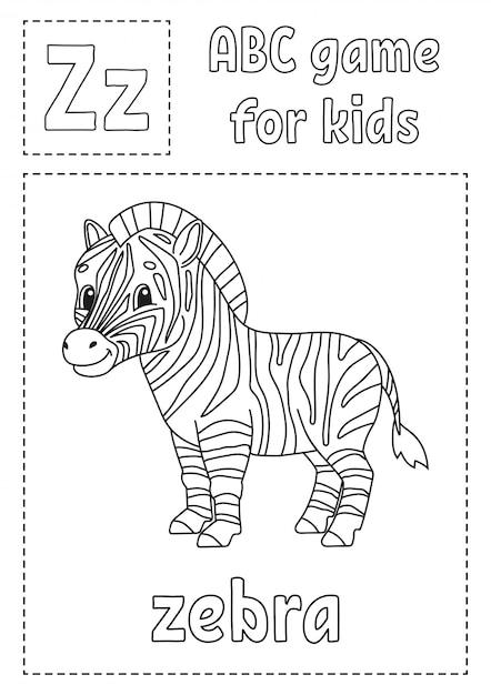 Letra Z E Para Zebra Abc Jogo Para Criancas Pagina Para Colorir