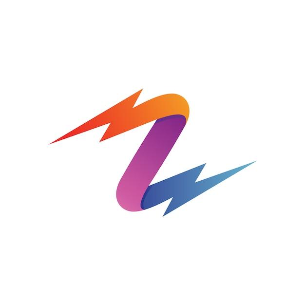 Letra z trovão logo vector Vetor Premium