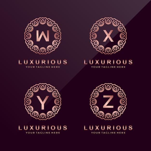 Letra z, y, x, w círculo de luxo logotipo Vetor Premium
