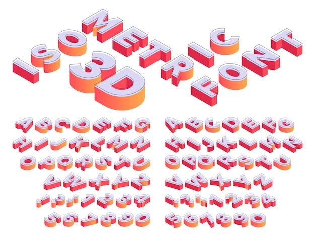 Letras 3d isométricas. fonte de letras em perspectiva, número do cubo e modelo de isometria de letra do alfabeto Vetor Premium