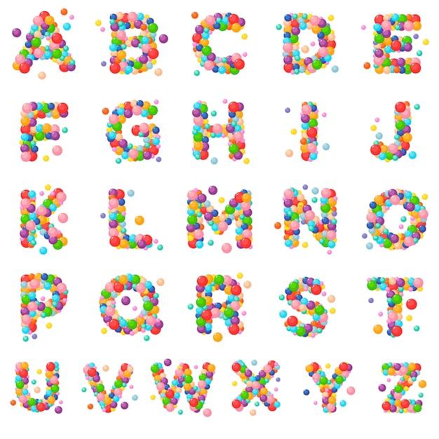 Letras ajustadas do alfabeto do vetor para crianças das bolas coloridas. Vetor Premium