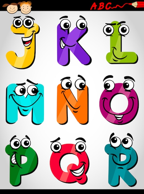 Letras Bonitas Alfabeto Ilustracao Dos Desenhos Animados Vetor