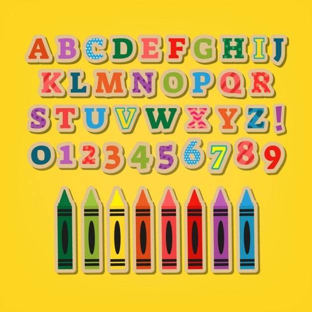 Letras coloridas adesivos Vetor grátis