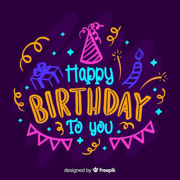 Letras coloridas feliz aniversário Vetor grátis