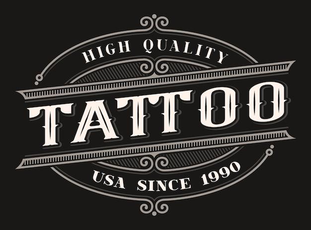 Letras coloridas vintage para o estúdio de tatuagem no fundo escuro. todos os itens estão em grupos separados Vetor Premium