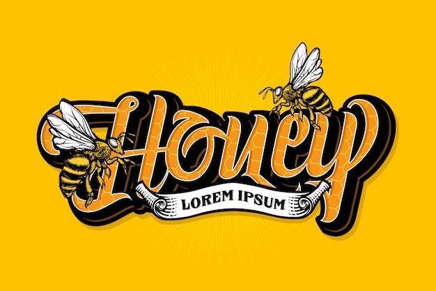 Letras de abelha de mel com modelo de fita Vetor Premium