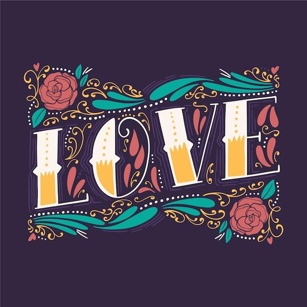 Letras de amor em estilo vintage com flores Vetor grátis