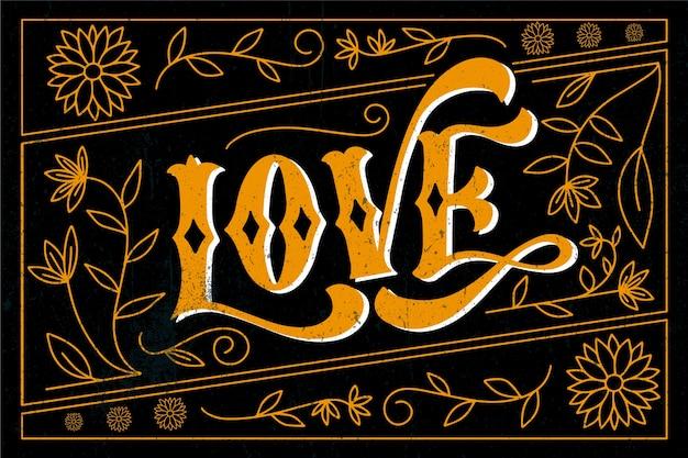 Letras de amor estilo vintage Vetor grátis