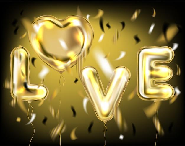 Letras de amor negro por balões de folha de ouro Vetor Premium