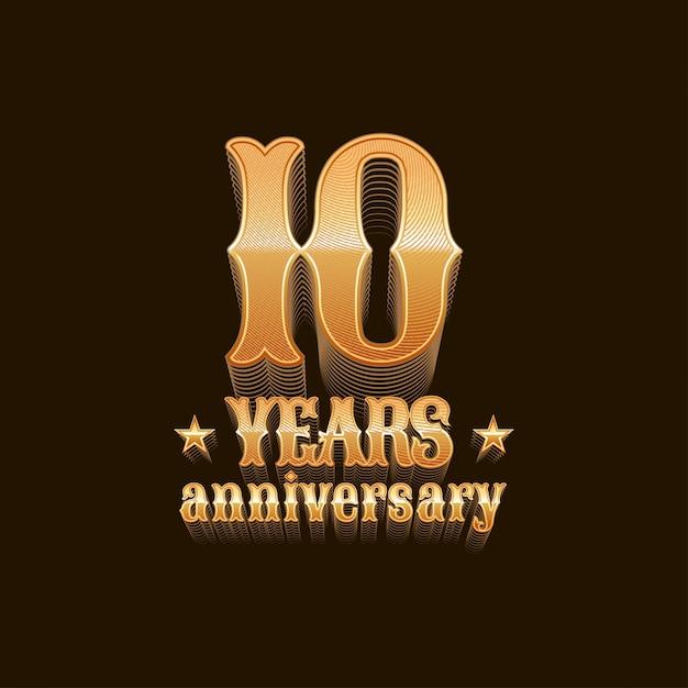 Letras de aniversário de 10 anos Vetor Premium