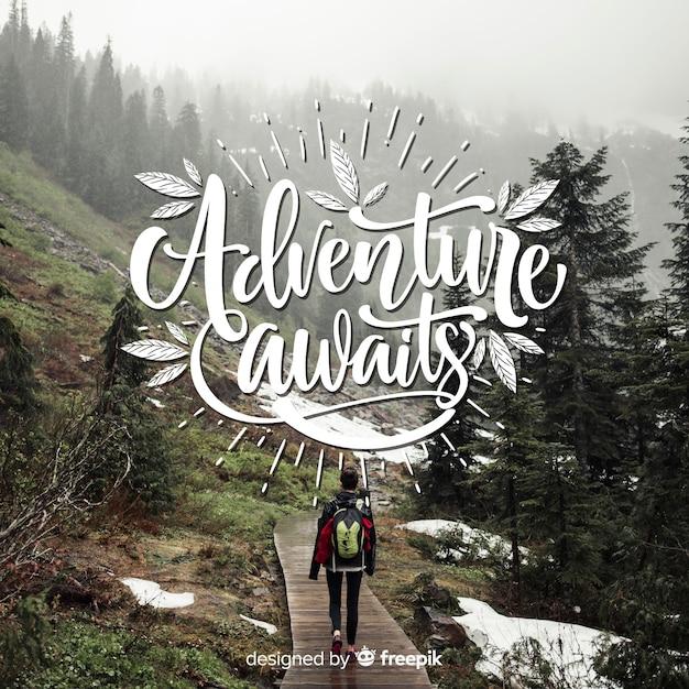 Letras de aventura com foto Vetor grátis